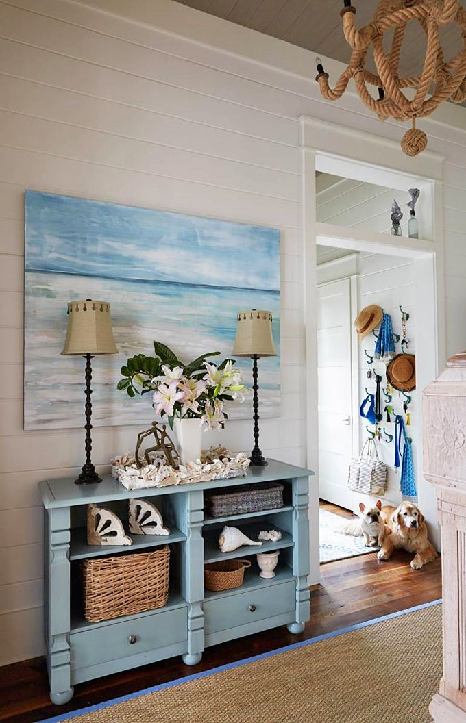 Beachy vignette (painting by Sherry Sandquist) featured in WaterColor, FL home designed by Georgia Carlee House of Turquoise