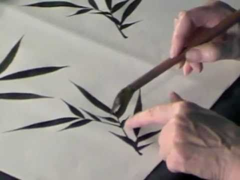 How to paint Black Ink Bamboo leaves