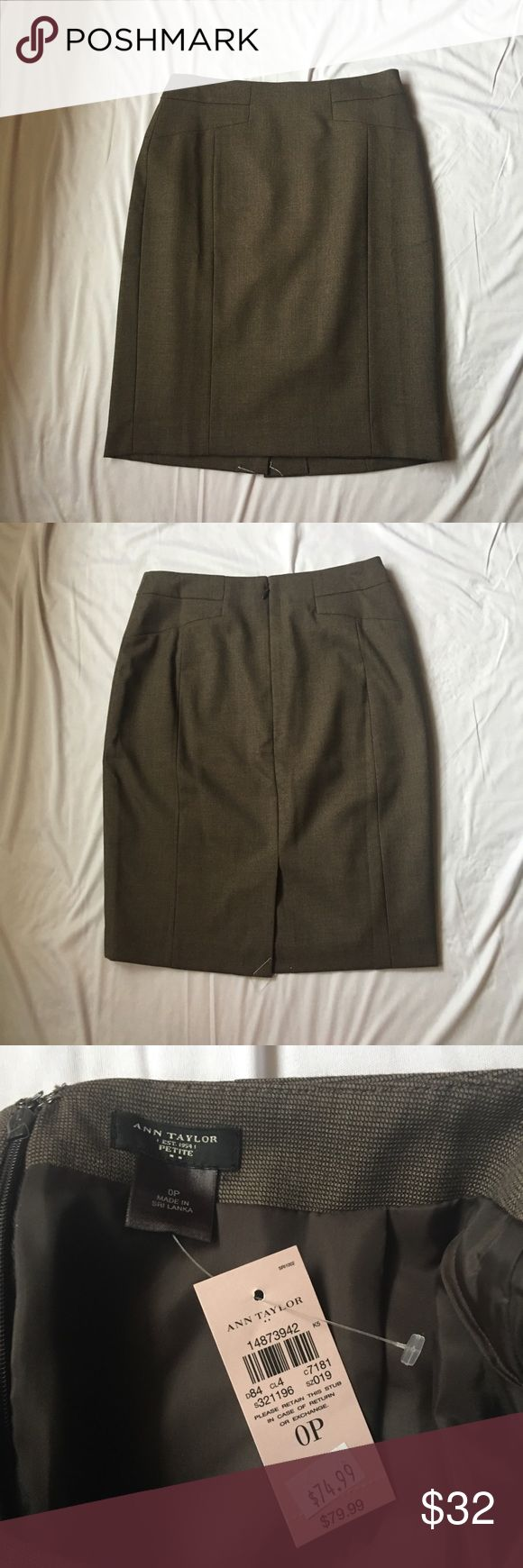 Ann Taylor Brown Pencil Skirt Beautiful brown pencil skirt from Ann Taylor in a size 0 petite. It is new with tags and no flaws. Ask any questions! Ann Taylor Skirts Pencil
