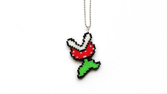 Piranha Plant Necklace - Mini Hama Beads, Mini Perler Beads, Nintendo's Super Mario Piranha Plant Jewelry, Perler Plant, Retro Pixel Jewelry by 8BitEarrings on Etsy