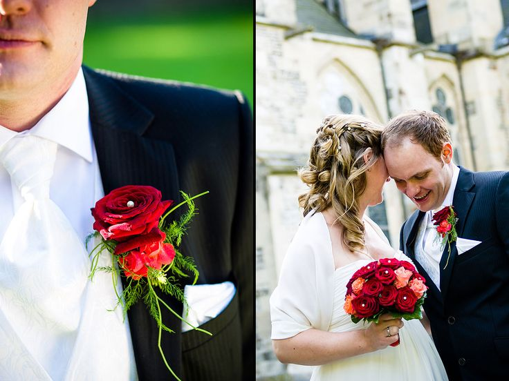 Und hier die klassische Farbe schlechthin. Rot. Rote Rosen. Roter Brautstrauß.