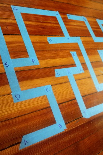 A homemade maze to learn the order of the alphabet. ABC road for cars.