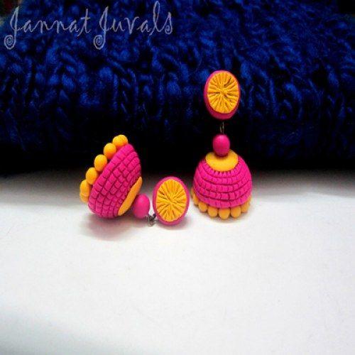 Magenta and Yellow Jhumka. Buy online from www.craftsvilla.com #craftsvilla #jewellery #polki #pearl #earrings #india