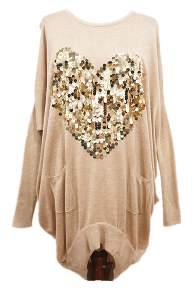 Sequin Heart Long Jumper BEIGE