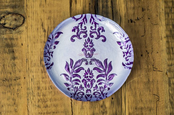 Reverse painted decorative plate made in Turkey
