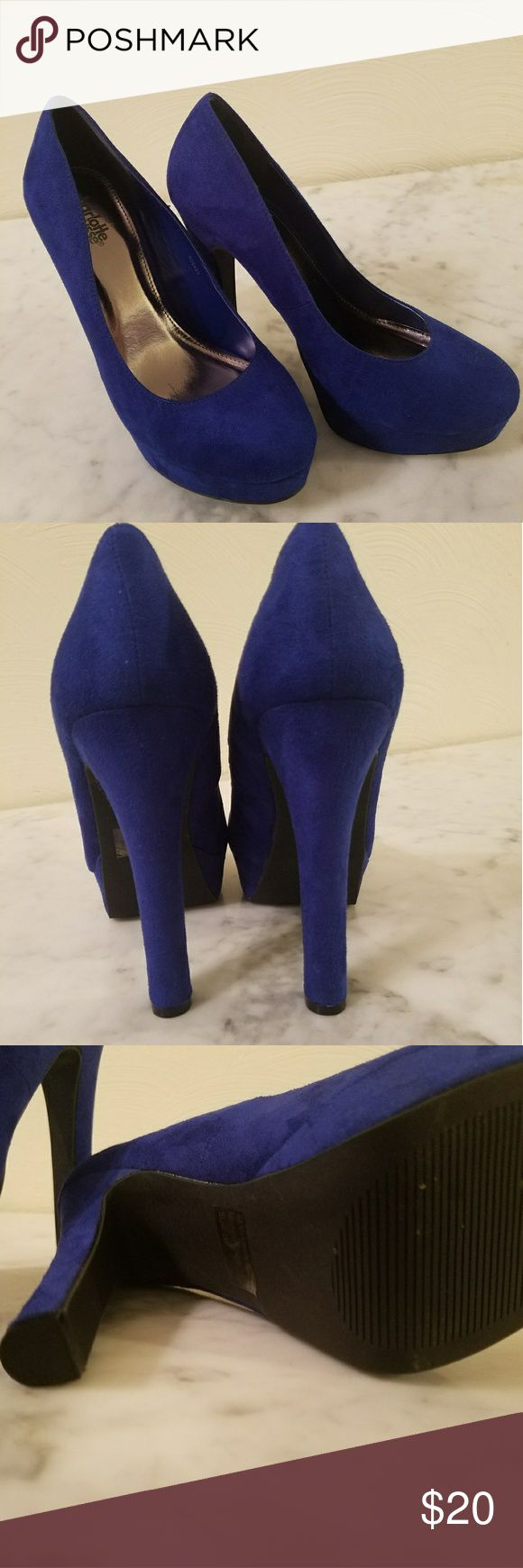 "Charlotte Russe Pumps Royal Blue like new condition 4"" heals. Suede fabric. Worn once for a dance, then stored. No flaws that I can find.   From a clean smoke free home Charlotte Russe Shoes Heels"