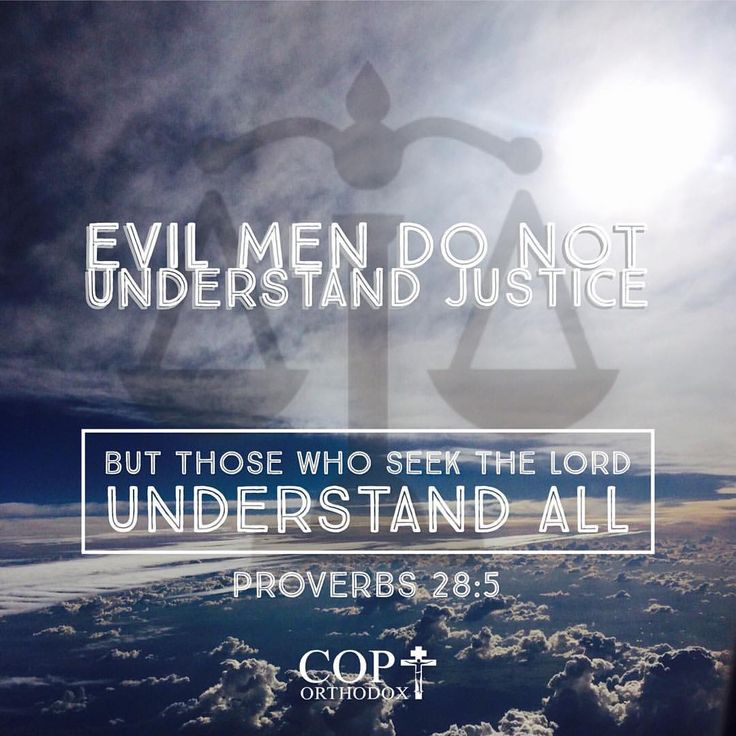 Proverbs 28:5 Evil men do not understand justice, But those who seek the Lord understand all.