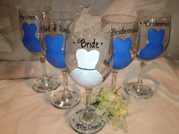 Glass Wedding Gifts: Wedding Glasses, Hand Painted Bridal Party Glasses