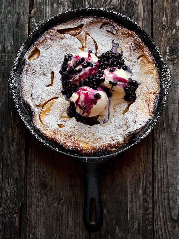 Peach Dutch Baby With Blueberry Sauce and Ice Cream - OPEN page
