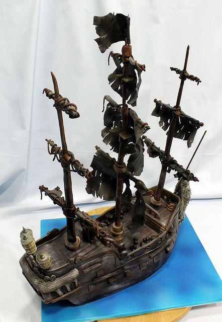 Pirates of the Caribbean Black Pearl cake- Tarta Perla Negra de Piratas del Caribe (17)