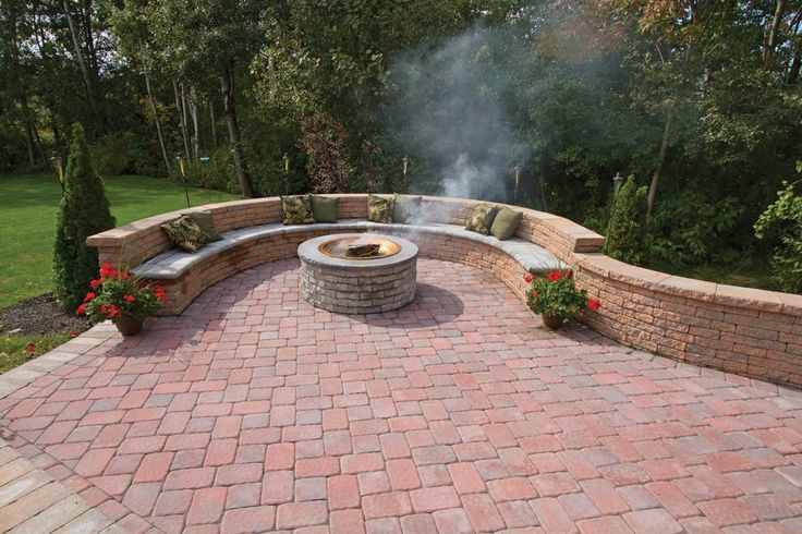 Seating walls, pavers, fire pit !! awesome ! materials available at BF Landscape, 856-740-1445 www.bflandscape.com