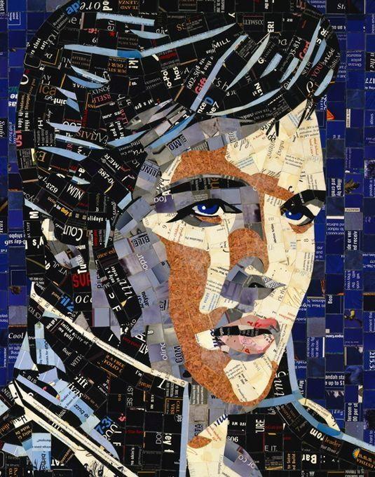 mosaicOld Paper, Mosaics Art, Junk Mail, Celebrities Portraits, Cut Paper, Mosaics Portraits, Elvis Presley, Paper Collage, Mail Art