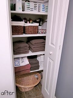 A Linen Closet...def need to reorganize mine after seeing this