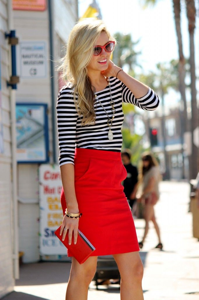 Classic stripes with a red pencil skirt.