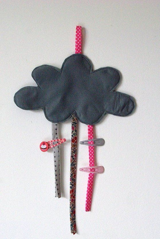 [#DIY Cloud hair pins hanger] cute idea. i'd like it even more if the hanging tab was somehow hidden behind the cloud.