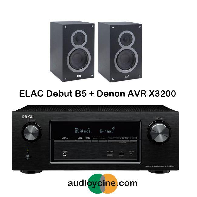 RECEPTOR AVR X3200 DE DENON + ALTAVOCES DEBUT B5 DE ELAC.  Receptor A/V en red de 7.2 canales Full 4K Ultra HD con Wi-Fi y Bluetooth AVR-X3200W + altavoces de estantería Debut B5. #pack #ReceptorAV #altavoz #estantería #Denon #Elac