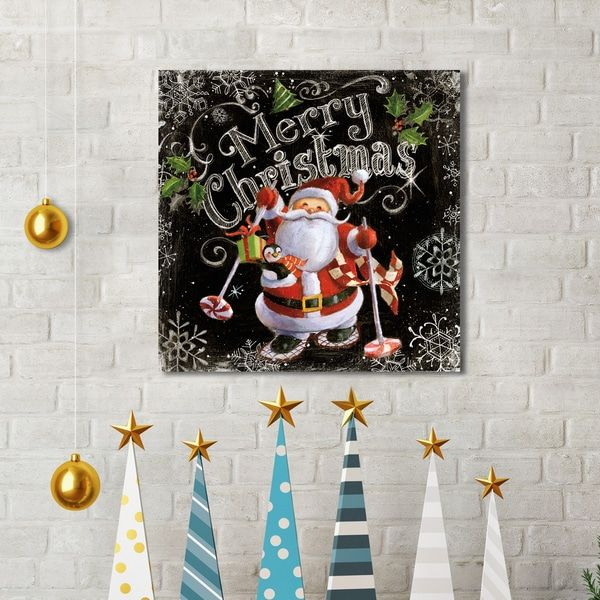 Portfolio Canvas Decor Geoff Allen 'Chalk Santa Merry Christmas Black' Canvas Print Holiday Wall Art