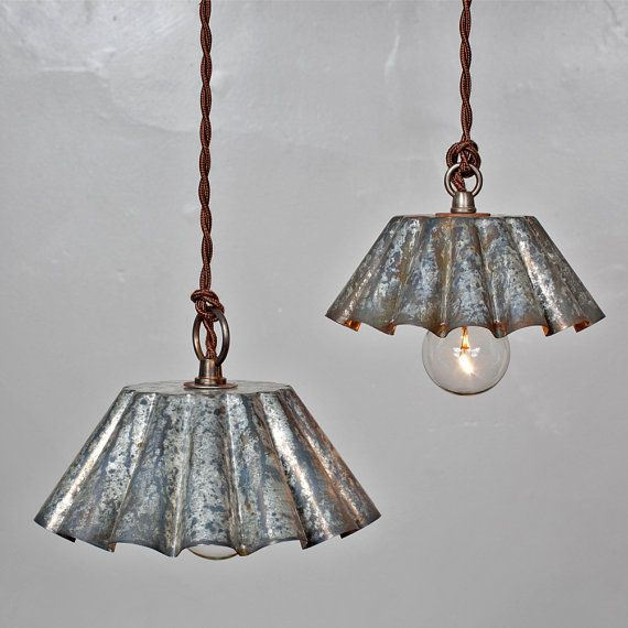 Brioche Tin Pendant Light Barn Aged Patina LG by FleaMarketRx