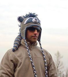 Крошка  Енот шапка вязаная крючком, Crazy pets зимняя весенняя зверошапка, шапка енот с хвостом и ушами, детская шапка Енот ирокез с гребнем by Confetta on Etsy