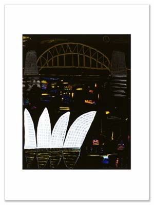 Ken Done 'Bridge and Opera House by Night I' painted in 2003.