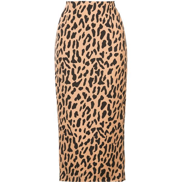 Dvf Diane Von Furstenberg Tailored midi pencil skirt ($250) ❤ liked on Polyvore featuring skirts, brown, leopard pencil skirt, patterned pencil skirt, red pencil skirts, brown pencil skirt and red midi skirt