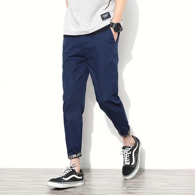 Good price 2017 Mens Casual Straight Ankle-Length Pants Men Floral Cuffs Slim Cotton trousers Male Solid navy blue Pants plus size 42 just only $12.90 - 14.87 with free shipping worldwide  #pantsformen Plese click on picture to see our special price for you