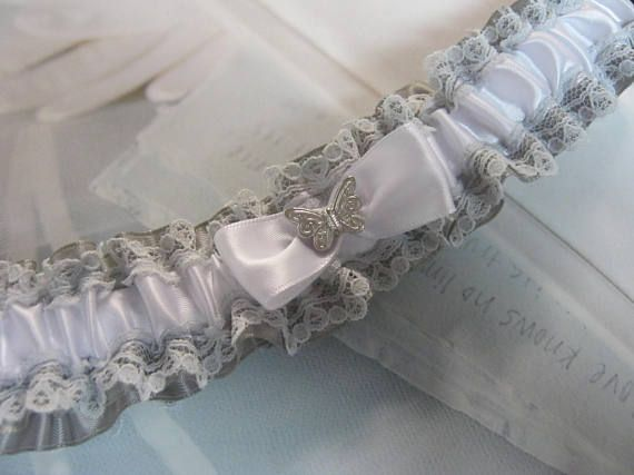 Silver/Gray and White Garter with Butterfly
