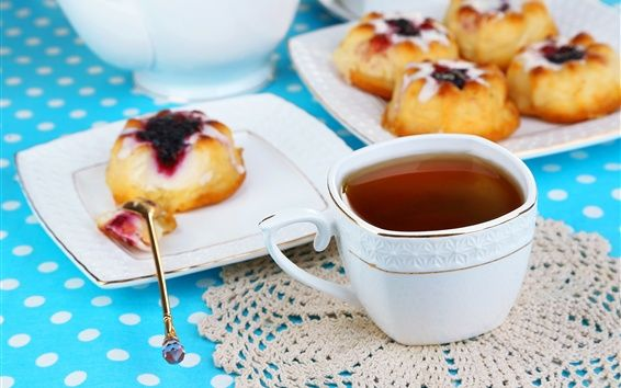 Té, pastel, desayuno Fondos de escritorio de Vista previa