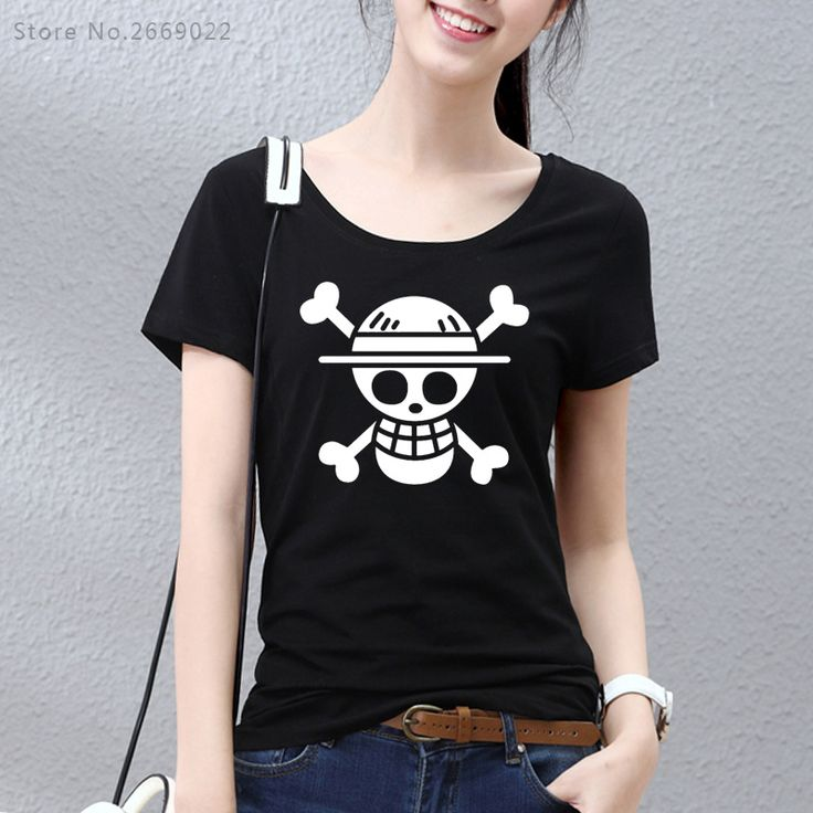 2017 One Piece T shirt Fashion Japanese Anime Clothing Back Color Luffy Cotton T-shirt For Girls Women Brand Camiseta