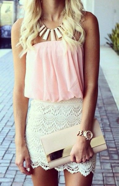 Flowy Pink top + Lace white Skirt + necklace + purse <3