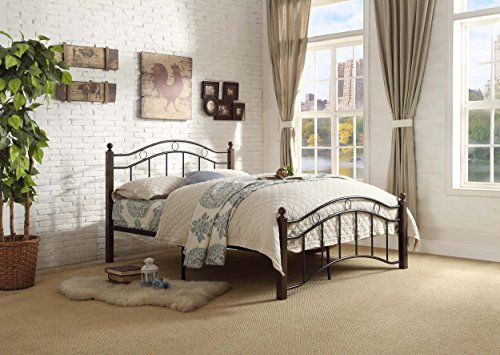 Avery Collection transitional style full size metal bed in black frame and chocolate brown pole 2-tone finish Platform bed and slat kit included, no box-spring/foundation is required Great additional to kid/guest room with limited space