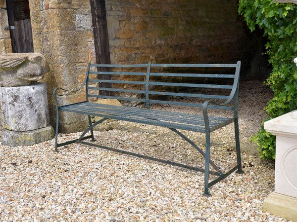 Early C19th Regency Period Wrought Iron Garden Bench Of Unusual