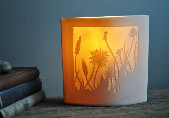 Dandelions Porcelain Lamp by AmyCooperCeramics on Etsy