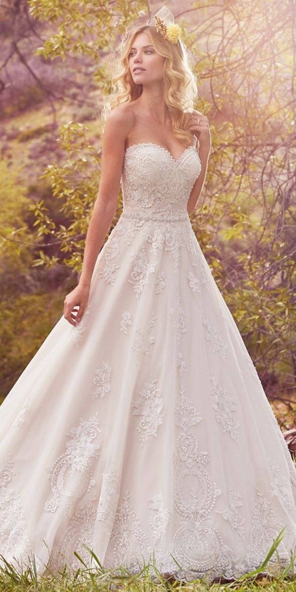 a line lace appliques shimmering embroidery wedding dresses maggie sottero