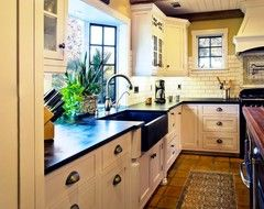 Hahka Happy Cottage Kitchen traditional kitchen  soapstone countertop, basecabinet, hardware, faucet