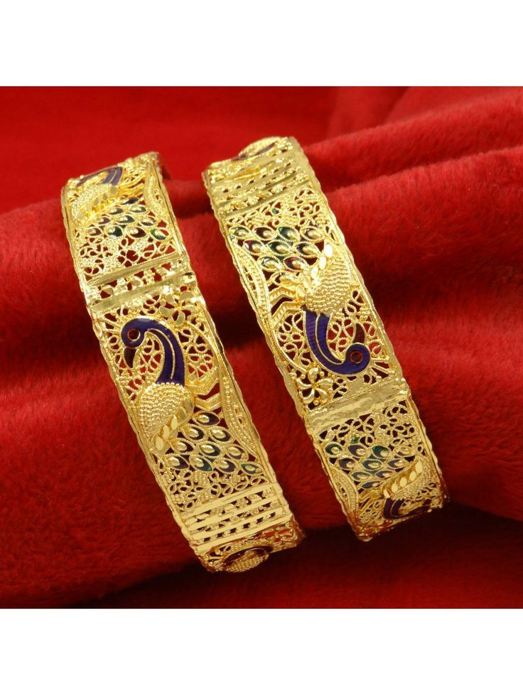 Indian Women Wedding Party Jewelry Goldplated 2PC Kada Bangle Set Bracelets 2*8