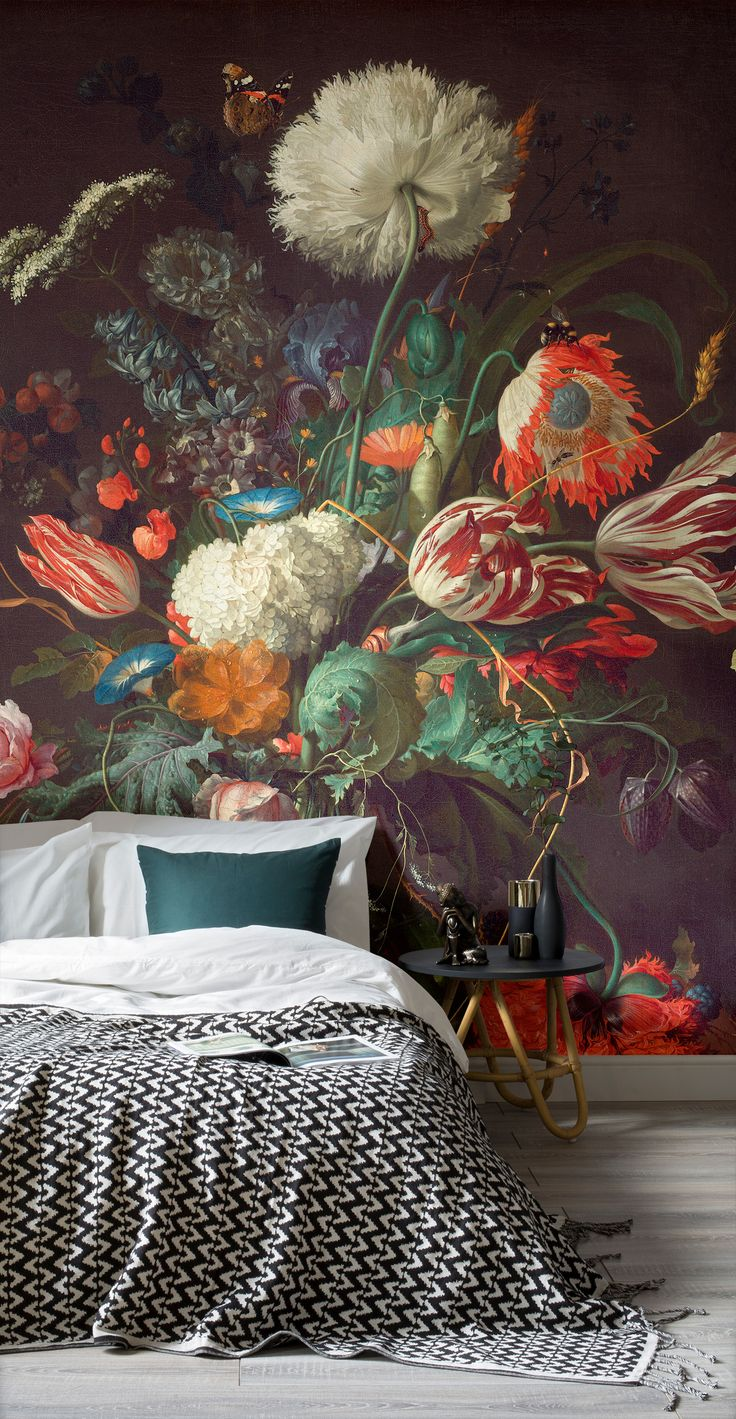 Vase of Flowers by Jan Davidsz. de Heem, 1645. This beautiful painted wallpaper mural is luxurious and opulent and will make any room of your home seem expensive and moody. The dark tones of the design makes for a super cosy backdrop, and works perfectly in a bedroom or living room space. #wallpaper #murals #wallmurals #interior #interiordesign #design #home #homedecor #interiordecor #accentwall #inspiration #Ihavethisthingswithwalls