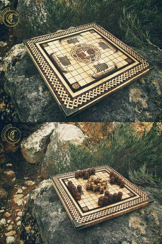 Hnefatafl The Viking game of strategy  http://tafl.cyningstan.com/page/20/a-rule-book-for-hnefatafl