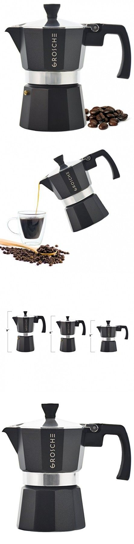 GROSCHE Milano Moka Stovetop Espresso Coffee Maker with Italian Safety Valve and Protection Handle, Black, 3 cup