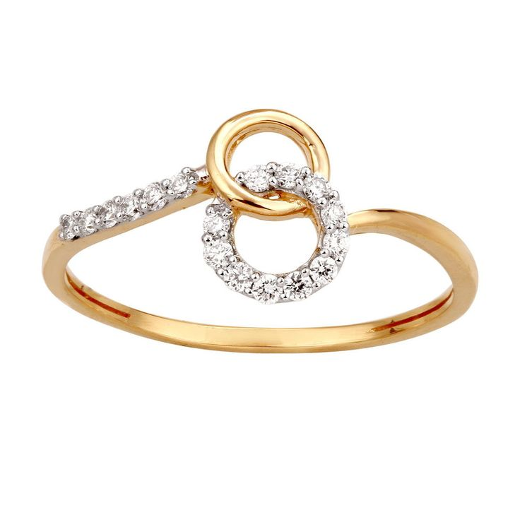 1/8 Ct Diamond Solid 10k Yellow Gold Interlocking Circle Fashion Ring Xmas Sale #CaratsForYou #Cluster #Christmas
