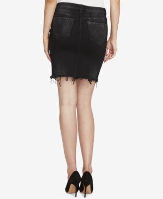 William Rast Metallic Denim Skirt - Black 28