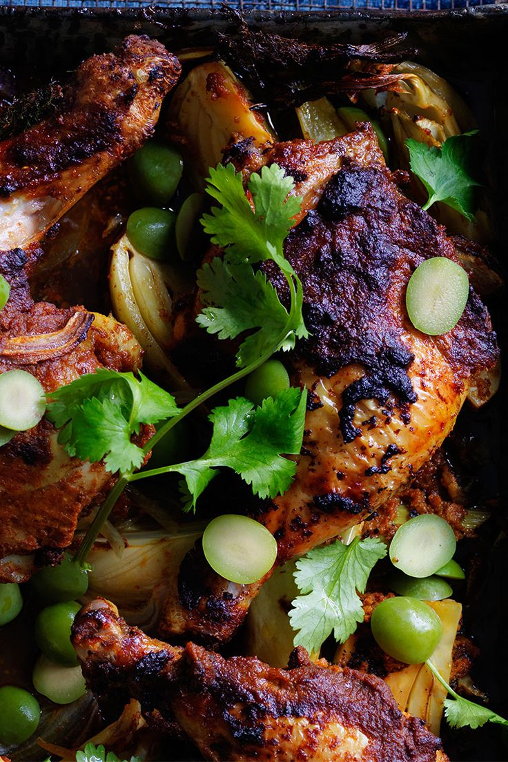 Get spiced with this Moroccan roasted style chicken and cauliflower. Scatter olives and coriander over chicken and serve with a ramekin of greek-style yoghurt.