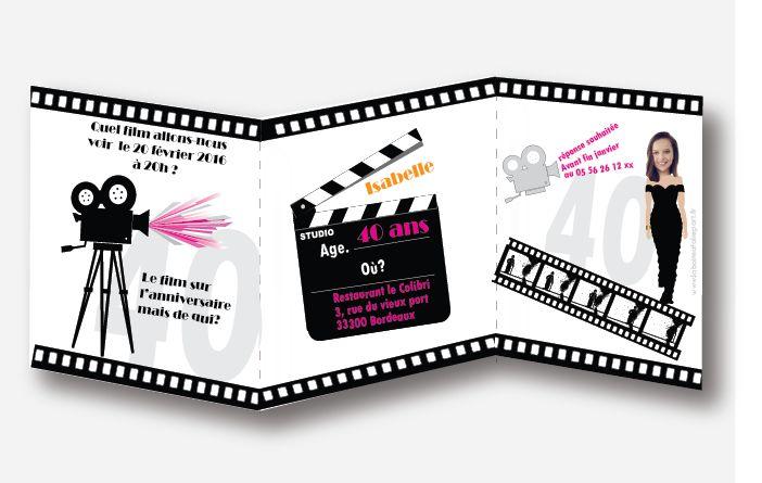 Invitation anniversaire femme, thème : CINEMA .Quelle film allons-nous voir ce soir ? .Plus d'informations en cliquant sur le lien suivant https://www.laboiteafairepart.fr/menu-anniversaire-femme-cinema/ #menuanniversairefemme #invitationfemme #anniversairefemme #invitationanniversaire #20ans #30ans #40ans #50ans #60ans  Le 14/02/17
