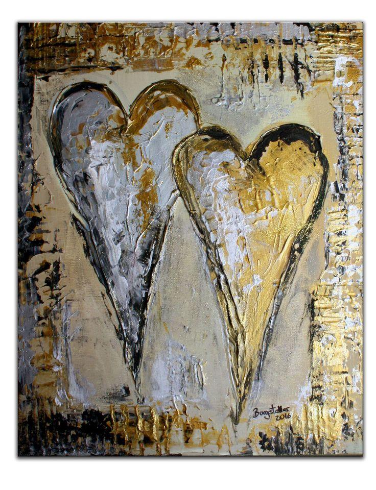 199 Doppelherz Bild gold silber Herz Gemälde 40×50