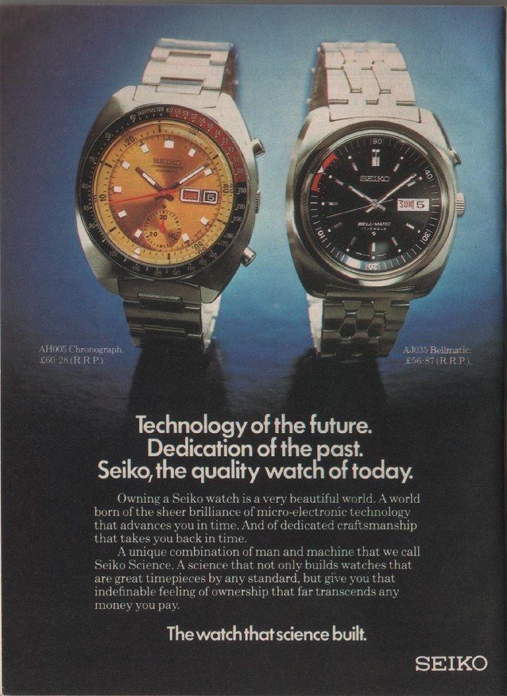 Vintage magazine advertisement, Seiko watches, c.1973