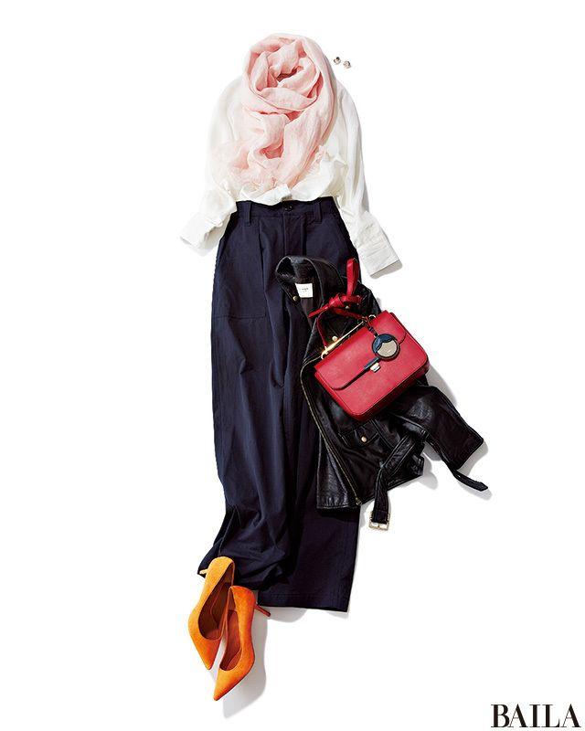 白シャツ×ネイビーパンツの通勤コーデも、鮮度の高いイエローパンプスで一気にスプリングムードに。さらにピンクの小物でバレンタイン気分も盛り上げ。淡ピンクのストールは顔の印象を柔らかくし、愛されムードを高めてくれます。はおりをプラスするなら、クールなライダースでこなれ感を出して。 シ・・・