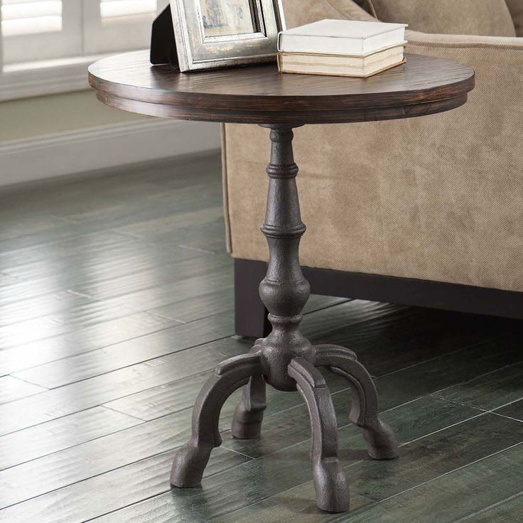 Iron And Wood Side Tables Living Room ~ Windmere accent side table distressed wood cast iron