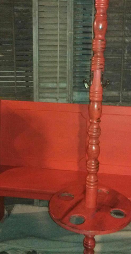 MidCentury vintage hall tree heavily distressed in Crimson by Not2ShabbyRedBarn