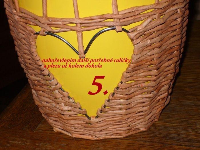 Мобильный LiveInternet Кашпо или винтажный фонарь с сердечком. Плетение из газетных трубочек | Марриэтта - Вдохновлялочка Марриэтты |