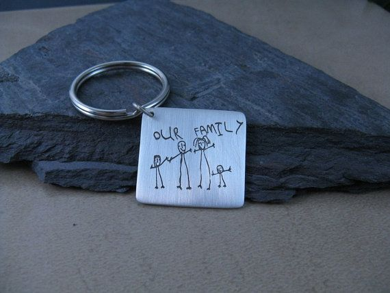 Personalized kids artwork on a silver keychain. Made to order. What a brilliant idea! Mom will love this for Mother's Day.